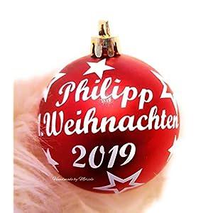 Weihnachtskugel mit Namen 1. Weihnachten 2019 mit der Wunschfarbe