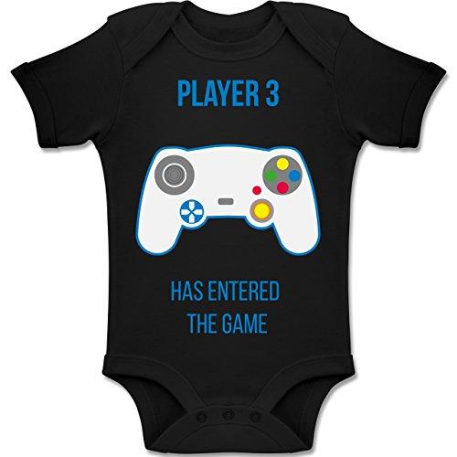 Shirtracer up to Date Baby - Player 3 Has Entered The Game - 1-3 Monate - Schwarz - BZ10 - Baby Body Kurzarm Jungen Mädchen