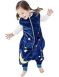 Ruiying Kleinkind Kids 1-7Y Sleep and Play-Blanket Schlafsack Cotton Jumpsuits Overall Bauwolle nachtwäsche Unisex Schlafanzug Jungen Mädchen (L(5-8 Jahre), Dunkelblau)