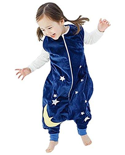 Queque Shine Ruiying Kleinkind Kids 1-7Y Sleep and Play-Blanket Schlafsack Cotton Jumpsuits Overall Bauwolle nachtwäsche Unisex Schlafanzug Jungen Mädchen (L(5-8 Jahre), Dunkelblau)