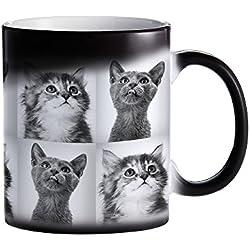 Tassenwerk – Schwarzer Becher mit Farbwechsel-Effekt – Personalisiert mit [Tierfotos] – Individuelle Zaubertasse mit Thermoeffekt – Geschenkidee für Herrchen und Frauchen – Magische Kaffeetasse