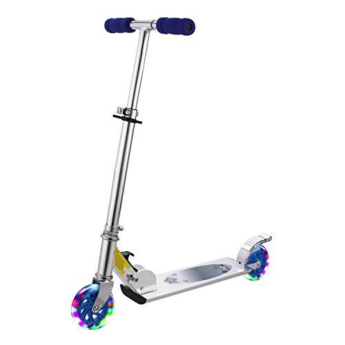 AMDirect Patinete Plegable con 2 Ruedas Luces Led Manillar Ajustable en Altura Patín Scooter para Niños 6 Años en Adelante (Tipo2 Azul)