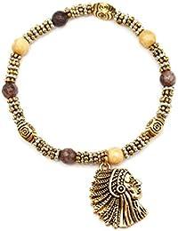 bc1773F–Pulsera perlas y piedras beige/marrón con Charm indio étnico metal dorado–Mode Fantasía