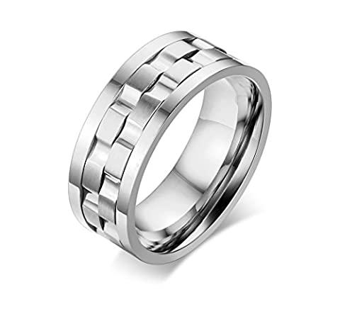 Vnox 9mm Womens Mens Stainless Steel Two Tone ADHD Spinner Comfort Fit Band Ring,Silver,UK Size P