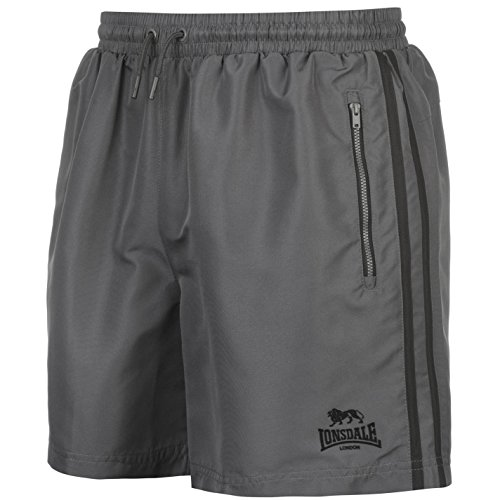 Lonsdale Herren 2 Streifen Gewebte Shorts Training Kurze Hose Kordelzug Anthrazit/Schwarz L Herren Trainings Short Shorts