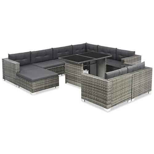 mewmewcat Gartensofa-Set 28-TLG. | Poly Rattan Lounge Set Lounge Möbel | Lounge Sofa Garnitur | Rattan Gartenmöbel Gartenset | Garten Sitzgruppe | Gartengarnitur | Grau - Modulare Lounge