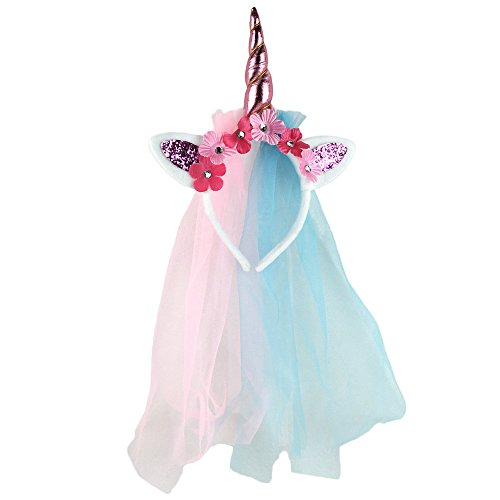 Babys Für Halloween Handgemachte Kostüme (Einhorn Haarreif, Canvalite Bling Bling Elastisch Einhorn Blumenmädchen Haarschmuck mit Gaze für Hochzeit Party)