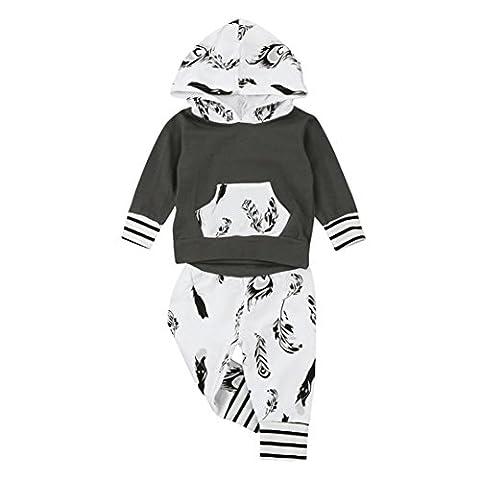 Hirolan Säugling Baby Junge Lange Hülse Kapuzenpullover Blatt Drucken Tops Hose Mode O-Hals strampler 0-2T Baby Outfits Weich Baumwolle Kleider Set (90cm, Braun)
