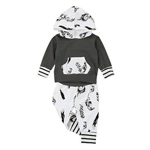 Hirolan Säugling Baby Junge Lange Hülse Kapuzenpullover Blatt Drucken Tops Hose Mode O-Hals strampler 0-2T Baby Outfits Weich Baumwolle Kleider Set (90cm, (Baby Kostüme Herr T)