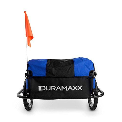 DURAMAXX Mountee • Fahrradanhänger • Lastenanhänger • Handwagen • mit Hochdeichsel • Transportbox mit 130 Liter Volumen • Tragkraft: max. 60 kg • Kugel-Kupplung für Fahrräder mit 26'' - 28'' • pulverbeschichteter Stahlrohrrahmen • blau - 5