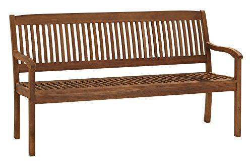 Gartenbank Sitzbank Holzbank SOUTA 2 | BxHxT: 157 x 91 x 63,5 cm | Braun | Akazienholz | 3-Sitzer