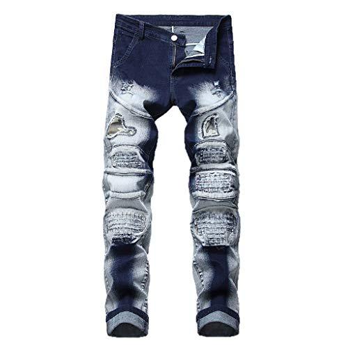 MOTOCO Herren Hosen Hosen Jeans Knopf Reißverschlusstasche Persönlichkeit Camouflage Print Stitching Casual Hosen Slim Print Leggings Jeans Shorts/Hosen(42,Weiß-3) Print Woven Beanie