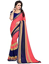 Oomph! Women's Georgette Printed Sarees - Punch Pink & Navy Blue