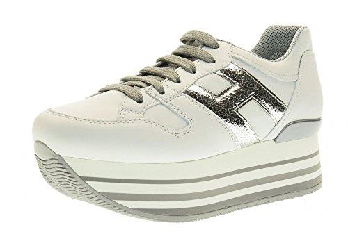 HOGAN scarpe donna sneakers basse con piattaforma HXW2830T541FPQ0351 H283 Bianco-argento