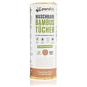 pandoo 100% Bambus Küchenrolle – waschbare Haushaltstücher, umweltfreundliche Papiertücher, ersetzt bis zu 60 Haushaltsrollen, saugstärker und reißfester als herkömmliche Küchentücher