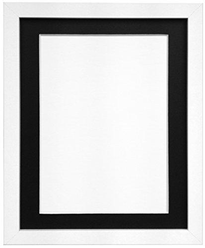 Frames By Post Weiß Foto Bild Poster Rahmen mit schwarzem Passepartout, holz, 25mm Frame, 6