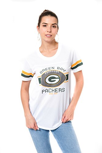 Icer Brands NFL Damen Jersey T-Shirt Mesh Varsity Stripe Short Sleeve Shirt, Team Logo weiß, Damen, JTL2219A-GP-Medium, weiß, Medium