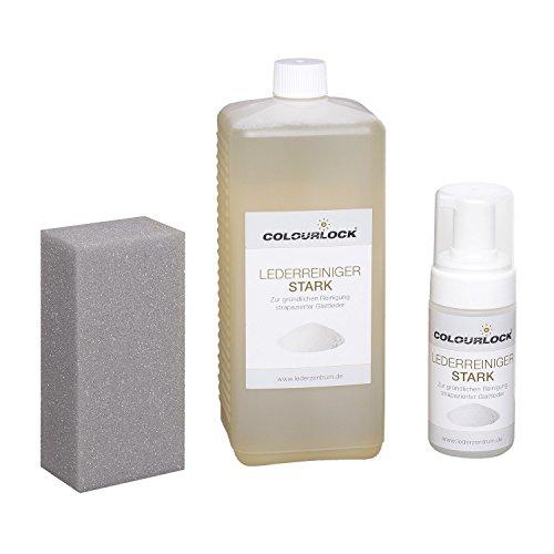 Preisvergleich Produktbild COLOURLOCK Lederreiniger stark 1 Liter inkl. 125-ml-Schaumspenderflasche und Reinigungsschwamm