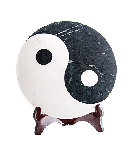 Ying Yang/Yin-Yang Servierplatte Dekoplatte aus Marmor, Marmorplatte Yin Yang, Feng Shui, Maße Ø/H: 30/1,5 cm Gewicht: ca. 4,5kg - Feng Shui Marmor