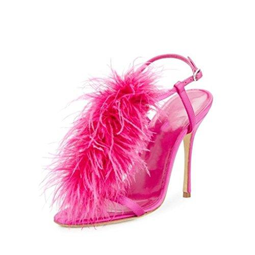 Damen High Heels Feder Sandalen, Peep Toe Ankle Shiny Schnallen Abend Party Pump Court Schuhe,EU41 Caged High Heel