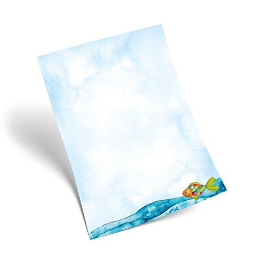 25 Blatt blau türkises Briefpapier Regenbogenfisch Fische in Ozean Meer Optik, 100g Briefbögen DIN A4 für Einladungen zur Kommunion Kindergeburtstag Angler - Maritim Liebhaber