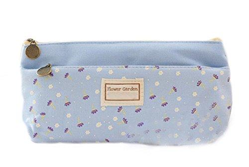 Hosaire Trousse à crayon Style rectangle motif floral petit Toile Stylo Sac de rangement fermeture éclair pour des Crayons ou des Cosmétiques -Bleu
