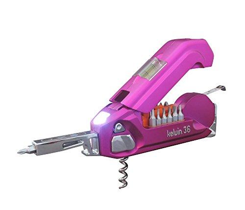 Kelvin Tools K-36 Multi-Tool Set, 36 Integrated Tools, 26 Bit Screwdriver Set, Tape Measure, Corkscrew-Magenta Magenta-snap