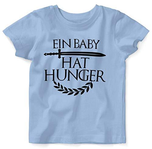 T-Shirt mit Spruch für Jungen Mädchen Unisex Kurzarm EIN Baby hat Hunger | handbedruckt in Deutschland | Handmade with Love, Farbe:Sky, Grösse:56/62 ()