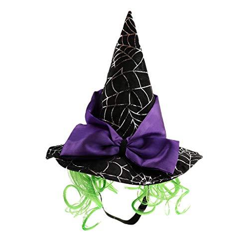 perfk Katze Hut Zauberer Hut Hexenhut mit grüner Perücke Halloween Haustier Kopfbedeckung für Kleine Hunde Welpen Katzen - Spinnennetz (Grün Perücke Halloween)