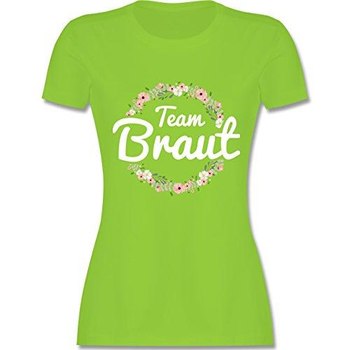 JGA Junggesellinnenabschied - Team Braut Blumenkranz - Damen T-Shirt Rundhals Hellgrün