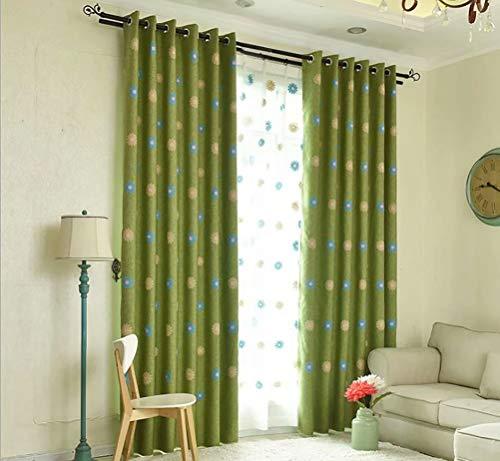 Zfuqs tenda oscurante europea - tenda ricamata in cotone - con occhiello - adatto per camera da letto soggiorno balcone camera per bambini - 100% poliestere - verde -140cmx245cm (lxa) 2 pezzi