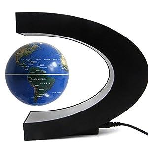 Tenlacum Forma C de la levitación magnética flotante globo giratorio Mapa Mundial de la lámpara LED de colores regalo de la decoración, globo flotante con luces LED (Azul)