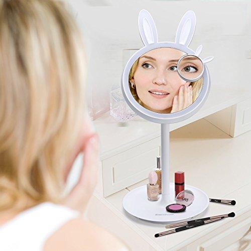 Miroir Maquillage Lumineuse LED USB Rechargeable, équipe Lampe du Chevet Blanc Chaud Miroir Grossissant 10x, Lumière Dimmable Miroir HD 180° Rotation Ajustable