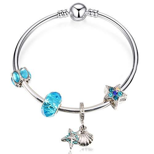 f8cb21708c96 GSYDSZ Blue Star Original Plateado Plata Pulsera del Encanto para Las  Mujeres con Cristal de Moda