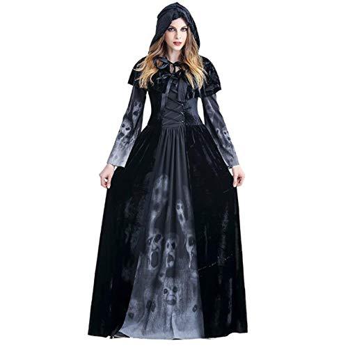 Für Menschen Scary Kostüm Schwarze - ZXX5211 Halloween Cosplay Kostüm Scary Hexe Kostüm Weibliche Maskerade Kostüm Schwarz Kostüm, M