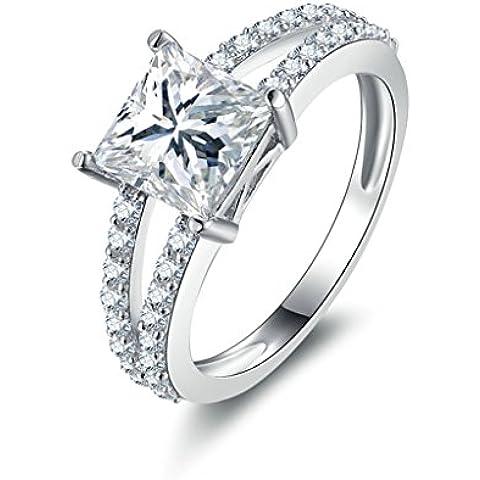 (Personalizzati Anelli)Adisaer Anelli Donna Argento 925 Anello Fidanzamento Incisione Gratuita Piazza Anello Diamante