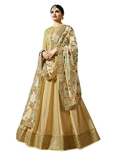Aria Fabrics Women\'s Faux Georgette Anarkali Suit (Yellow)