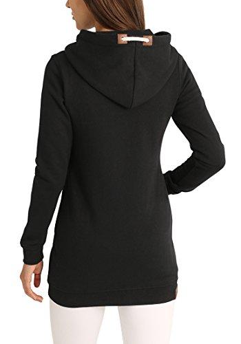 DESIRES Vicky Straight-Zip Damen Lange Sweatjacke Kapuzenjacke Sweatshirtjacke Mit Kapuze Und Fleece-Innenseite, Größe:S, Farbe:Black (9000) - 3