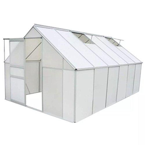 Festnight serra da giardino per pianti in policarbonato e alluminio 371 x 250 x 195 cm/430 x 250 x 195 cm/490 x 250 x 195 cm