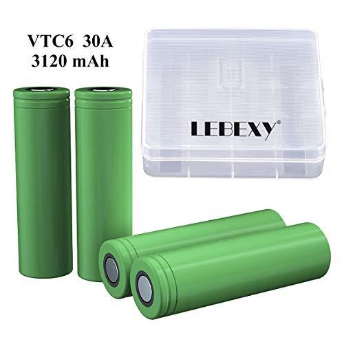LEBEXY VTC6 Akku 4X USI8650VTC6 Akkus INR für Elektronische Zigarette Accu batterien (3000mAh/3,7V/30A/Li-Ion)