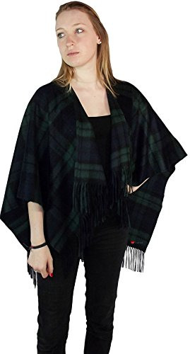 I Luv Ltd Ladies Cashmere Cape in Black Watch Tartan