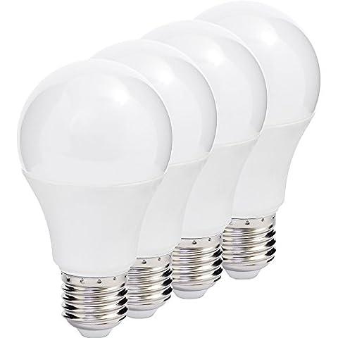 MÜLLER-LICHT 400007 A+, 4er-SET LED Lampe Birnenform ersetzt 40 W, Plastik, E27, weiß, 6 x 6 x 10.9 cm [Energieklasse A+]