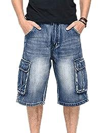 3dfe3eae465a1 Mens Hip Hop Skateboard Baggy Shorts Jeans Boy Multi Bolsillos Raperos Rap  Shorts Jeans