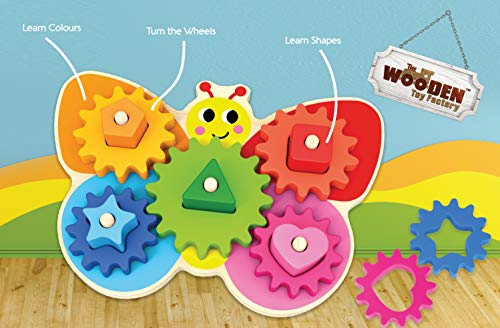 The Wooden Toy Factory - Butterfly Gear Game - Educational Toddler Activity Toy