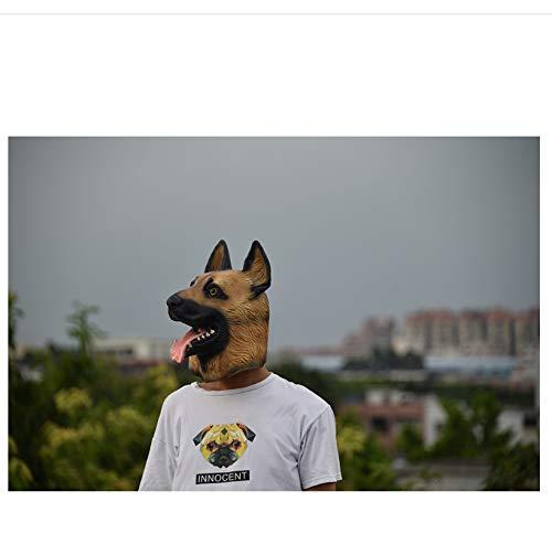 Deutscher Schäferhund Kostüm - wanjuna Hundemaske Kopf Vollgesichtsmaske Halloween Maskerade Kostümparty Cosplay Kostüm Polizei Tier Deutscher Schäferhund Latex Maske