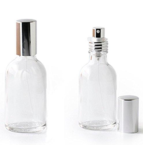 Lot de 2 flacons en verre transparent (FO) - avec vaporisateur et capuchon argenté - contenance 50 ml