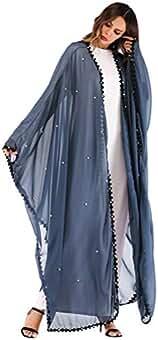 TENDYCOCO Abaya Abrigo de Moda con Cordones Remiendo Bordado de Encaje Kimono Cardigan de Manga Larga