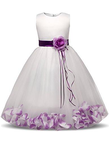 NNJXD Mädchen Tutu Blütenblätter Schleife Brautkleid für Kleinkind Mädchen Größe 5-6 Jahre Großes Lila (Kleid Kleinkind Prinzessin Lila)