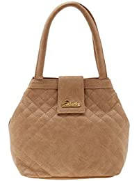 ESBEDA Beige Checks Pu Synthetic Material Handbag For Women