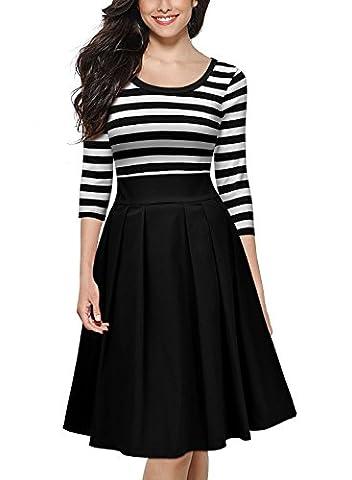 MIUSOL Women's Navy Style Stripe Scoop Neck 2/3 Sleeve Casual Swing Dresses for Women(Black,XL-14)